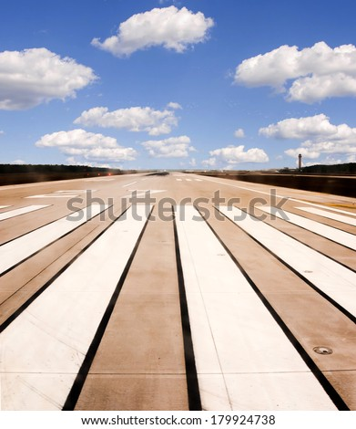 Airport runway. Ready for departure! - stock photo