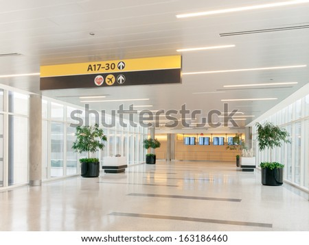 airport scene and connected terminals - stock photo