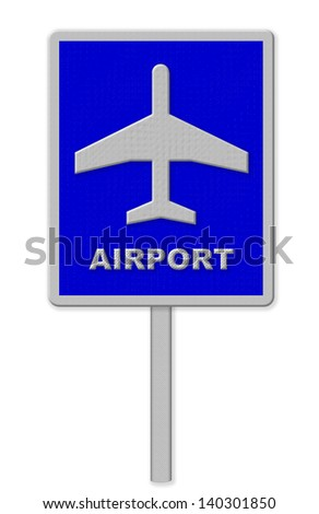 Airport sign, blue isolated road traffic airplane icon signage and signpost pole post - stock photo