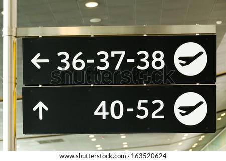 Airport Sign, Gate numbers - stock photo