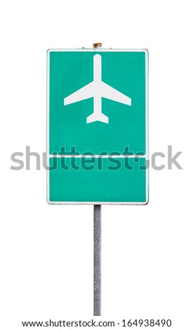airport sign with plane isolated on white - stock photo
