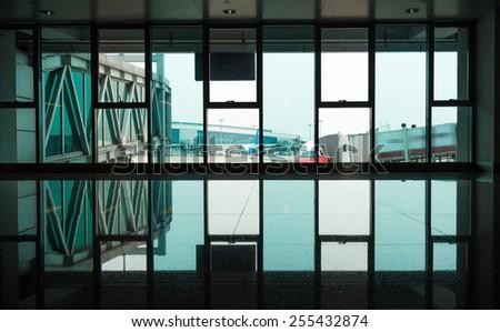 Airport terminal building in Guangzhou Airport - stock photo