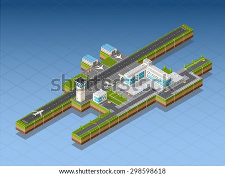 Airport terminal for arrival and departure of aircraft and passengers traveling - stock photo