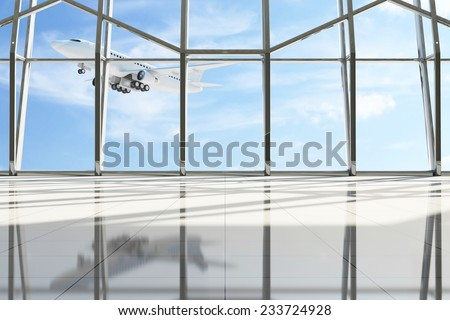 Airport Terminal Waiting Area. Empty Hall Interior with Large Windows and Flying Airplane behind. Passenger Airplane of My Own Design