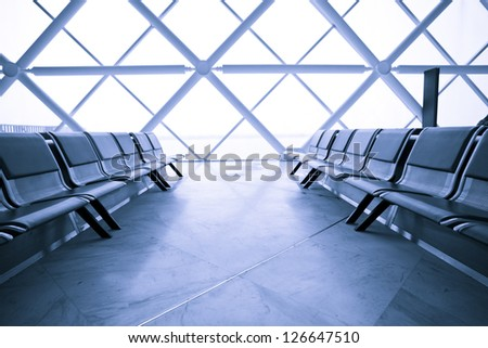 Airport Terminal Waiting Lounge - stock photo