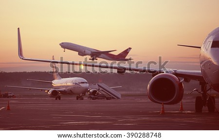 airport, the plane on takeoff, landscape - stock photo