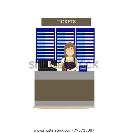 Airport ticket counter concept illustration in flat style. Airport people flat style design element, icon isolated on white background.