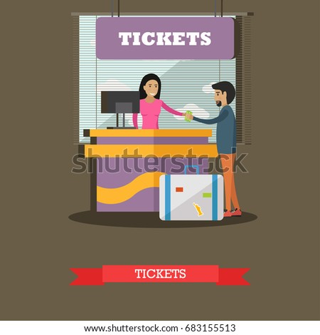 Airport ticket counter concept illustration in flat style. Ticket agent and passenger characters.