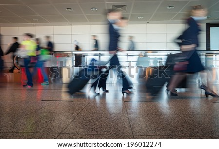 Airport Train Tube station Blur people movement in rush hour  - stock photo