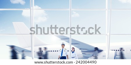 Airport Travel Cabin Crew Trip Transportation Airplane Concept - stock photo