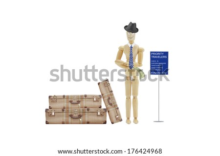 Airport Traveler waiting on line to pay adult wood mannequin isolated on white background - stock photo