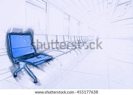 Airport waiting area with rows of blue seats. Background for topics of travel and business. Painting of travel scene, pencil outlines of background. - stock photo