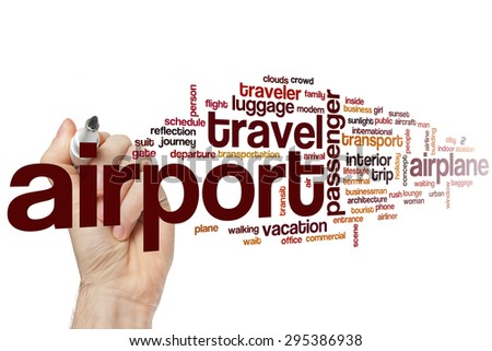 Airport word cloud concept with travel airplane related tags - stock photo