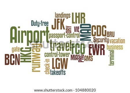 Airports word cloud with white background - stock photo