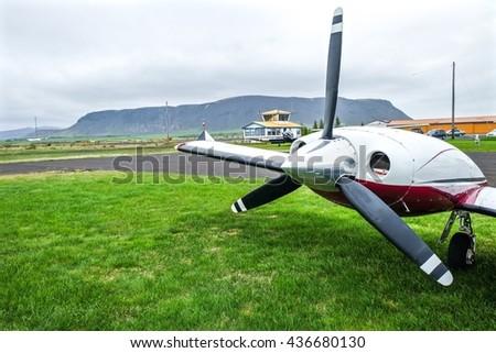 Airscrew of small plane. - stock photo