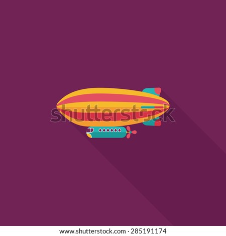 Airship flat icon with long shadow - stock photo
