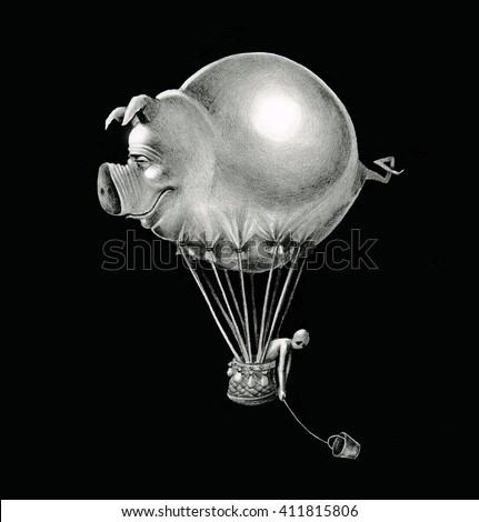 Airship flying pig on black sky with a basket in which a person sits. Graphic illustration