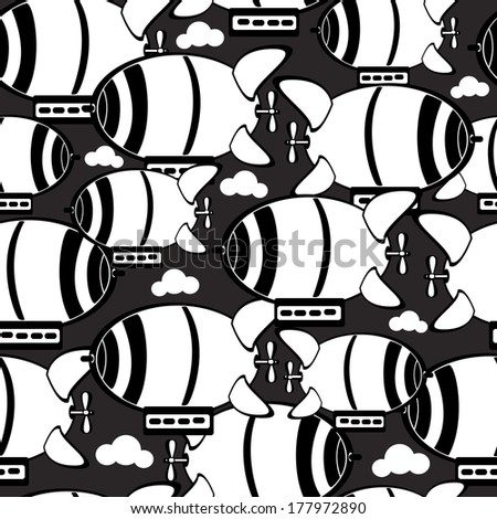airship in the clouds seamless pattern  - stock photo