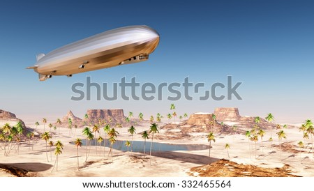 Airship over a desert landscape Computer generated 3D illustration - stock photo