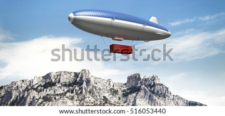 Airship with container flying over mountains. Dirigible covered with solar panels. The concept of delivery of goods to remote places. 3d rendering image