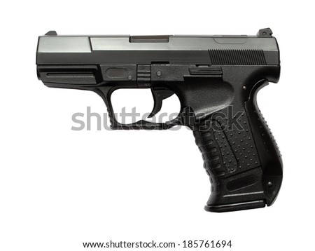 Airsoft pistol isolated on white background.