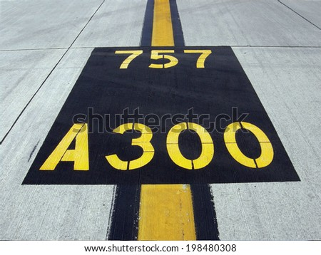 Airstrip markings 757 a300 - stock photo