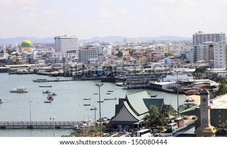 Airview on the seascape. Pattaya. Thailand - stock photo