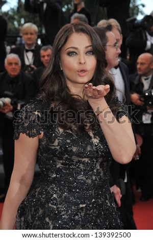 """Aishwarya Rai at the gala screening for """"Inside Llewyn Devis"""" in competition at the 66th Festival de Cannes. May 19, 2013  Cannes, France - stock photo"""