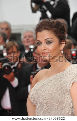 """Aishwarya Rai Bachchan at the gala premiere for """"Midnight in Paris"""" the opening film at the 64th Festival de Cannes. May 11, 2011  Cannes, France Picture: Paul Smith / Featureflash - stock photo"""