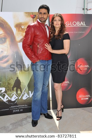 "Aishwarya Rai Bachchan & husband Abhishek Bachchan at photocall for their new movie ""Raavan"" at the 63rd Festival de Cannes. May 17, 2010  Cannes, France Picture: Paul Smith / Featureflash - stock photo"