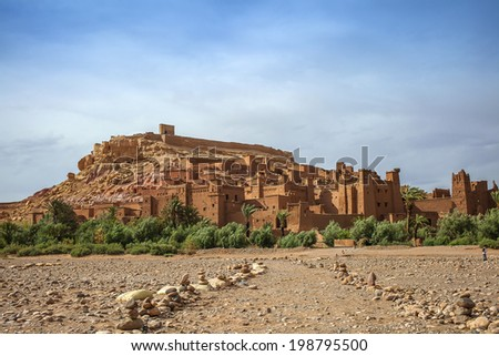Ait Ben-Haddou clay casbah in Morocco  - stock photo