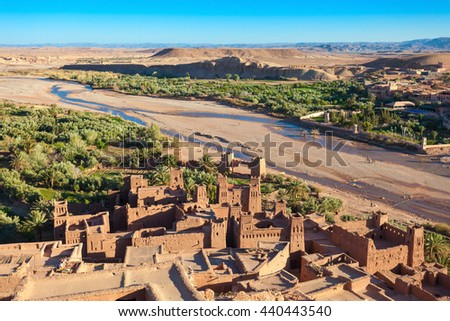 Ait Ben Haddou is a fortified city near ouarzazate in Morocco. Ait Benhaddou is a UNESCO World Heritage Site and several films have been shot there. - stock photo