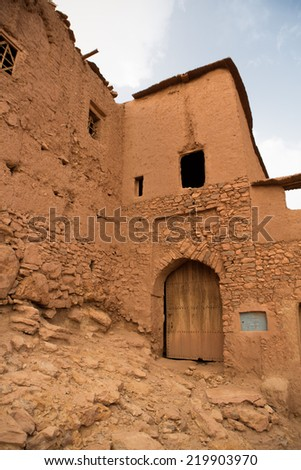 Ait-ben-Haddou is a fortified city, or ksar, along the former caravan route between the Sahara and Marrakech in present-day Morocco. Ait-ben-Haddou has been a UNESCO World Heritage Site since 1987. - stock photo