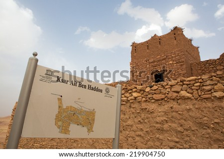 AIT BEN HADDOU, MOROCCO, AUGUST 31: Map details of the fortified city, or ksar, along the former caravan route between the Sahara and Marrakech. It is a UNESCO World Heritage Site. Morocco 2014 - stock photo