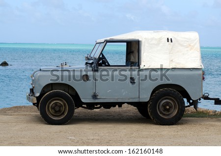 AITUTAKI - SEP 17:Land Rover Series II 88 on Sep 17 2013.It's a very old Series from the 1960's and it the first vehicle to use the well-known 2.25-litre Land Rover petrol engine. - stock photo