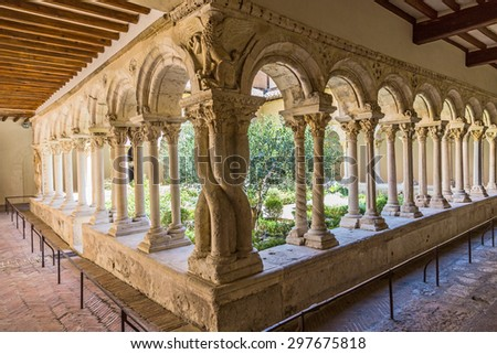 AIX EN PROVENCE, FRANCE - JULY 8, 2015: Cathedral Cloister in Aix-en-Provence, France. The cloister was built in the 12th century.