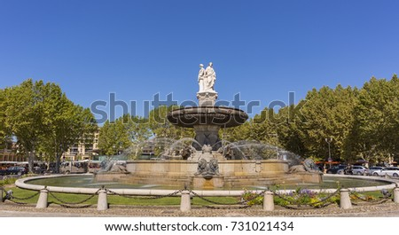 AIX-EN-PROVENCE, FRANCE - JULY 29, 2017: Fontaine de La Rotonde, a historic fountain, on the Place de la Rotonde.