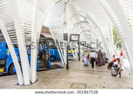 AIX EN PROVENCE, FRANCE - JULY 8, 2015: modern Bus station Gare Routiere in Aix en Provence, France. The new Staion designed by Duthilleul opened at June 17, 2014. - stock photo
