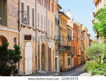Aix en Provence old town street, Provence of France - stock photo