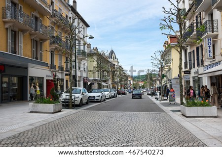 AIX-LES-BAINS, FRANCE - 30 APRIL, 2015: Street of french resort Aix-Les-Bains, one of the important French spa towns that has the largest fresh water marina in France