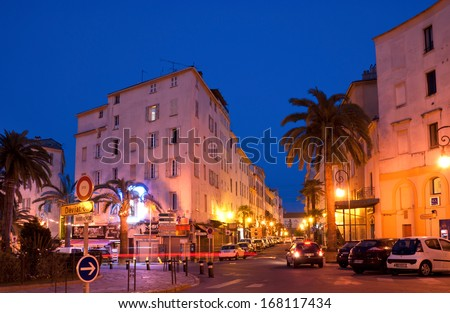 AJACCIO, FRANCE - MAY 2, 2013: Place Foch is one of the central squares with the monument to Napoleon with lions, on May 2, 2013 in Ajaccio, Corsica.