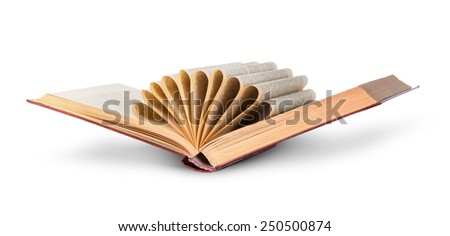 Ajar old book with curled pages isolated on white background - stock photo