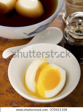 Ajitsuke Tamago, Japanese Sous Vide Slow Cooked Eggs. Non sharpen - stock photo