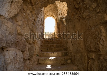AJLOUN, JORDAN - APRIL 05, 2014: The ayyubid castle of Ajloun in northern Jordan, built in the 12th century, Middle East