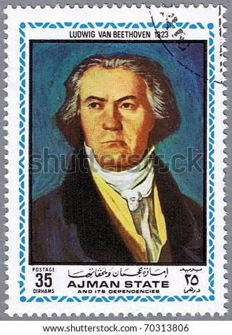 AJMAN - CIRCA 1972: A stamp printed in Ajman shows a portrait of Ludwig van Beethoven, series, circa 1972 - stock photo