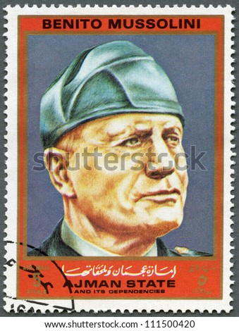 AJMAN - CIRCA 1972: A stamp printed in Ajman shows Benito Mussolini (1883-1945), series Figures from the Second World War, circa 1972 - stock photo