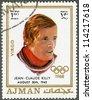 AJMAN - CIRCA 1970: A stamp printed in Ajman shows Jean-Claude Killy (born 1943), circa 1970 - stock photo