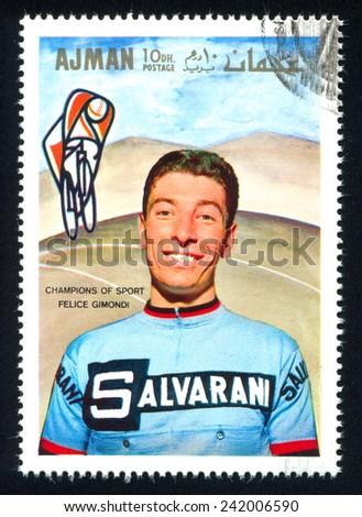 AJMAN - CIRCA 1969: stamp printed by Ajman, shows Felice Gimondi, circa 1969 - stock photo