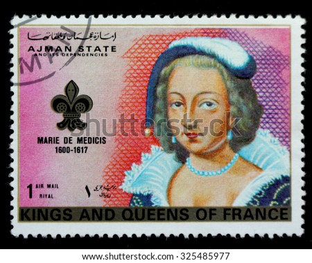 "AJMAN STATE - CIRCA 1972: A postage stamp printed in Ajman State showing an image of the queen ""Marie de Medecis"", from the series ""Kings ans Queens of France, circa 1972"