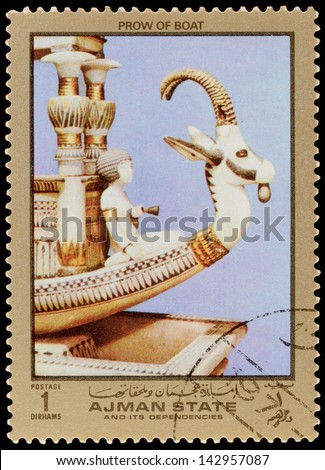 AJMAN STATE - CIRCA 1971: A stamp printed in the AJMAN STATE, shows Egyptian treasures, series, circa 1971